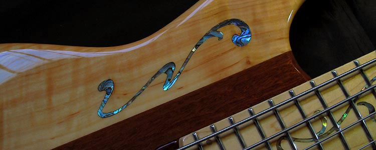The Stage-II Bass | Paua mother-of-pearl inlay work