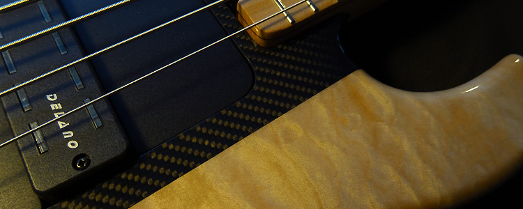 "Session Bass | The modular 5 strings bass with ""Serge "" style carbon fiber core"