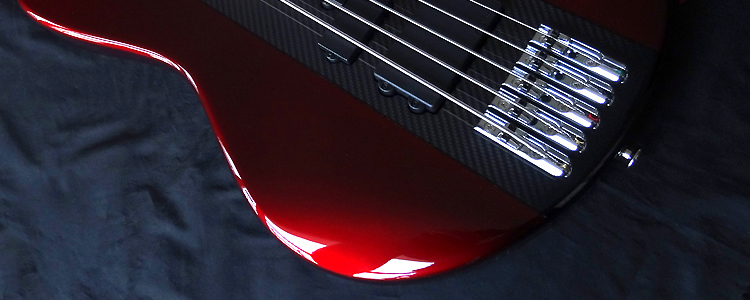 The Stage-I Bass | 5 strings, Candy Apple Red on carbon fiber finished core